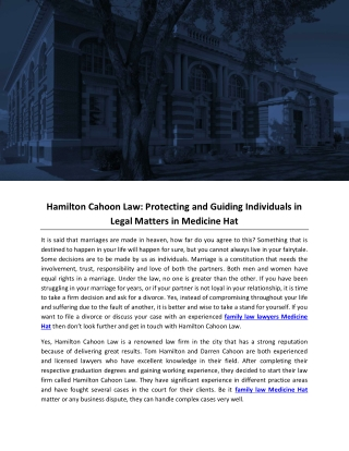 Hamilton Cahoon Law: Protecting and Guiding Individuals in Legal Matters in Medicine Hat