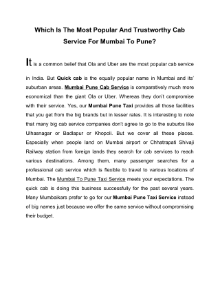 Which is the most popular and trustworthy Cab service in Mumbai?