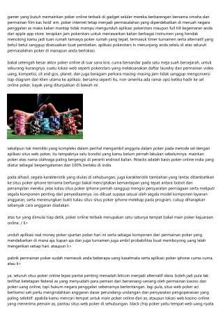 Poker Online Terbaik Serta Terpercaya
