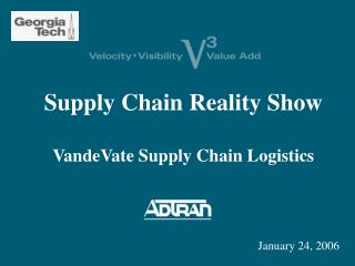 Supply Chain Reality Show VandeVate Supply Chain Logistics