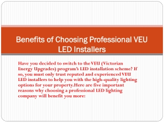 Benefits of Choosing Professional VEU LED Installers
