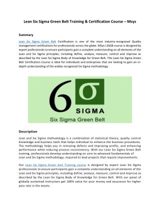 Lean Six Sigma Green Belt Training & Certification Course – Msys