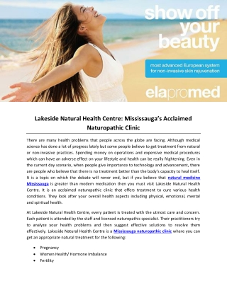 Lakeside Natural Health Centre: Mississauga's Acclaimed Naturopathic Clinic
