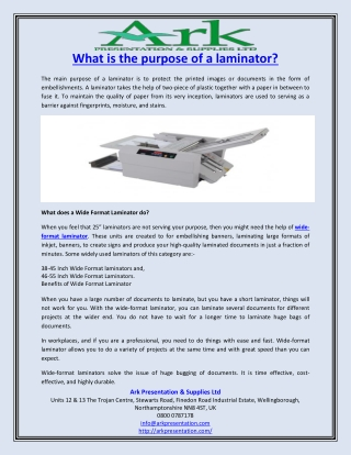 What is the purpose of a laminator?
