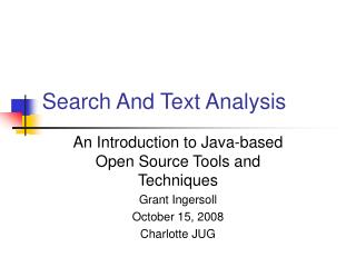 Search And Text Analysis