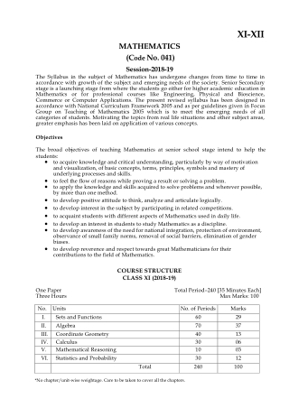 CBSE Syllabus for Class 12th Mathematics 2018- 19