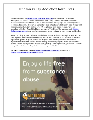 Hudson Valley Addiction Resources