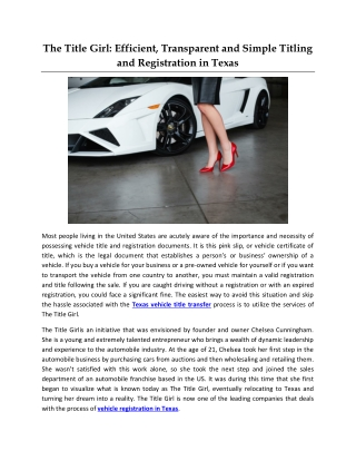 The Title Girl: Efficient, Transparent and Simple Titling and Registration in Texas