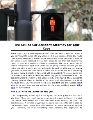 Hire Skilled Car Accident Attorney for Your Case
