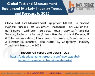 Global Test and Measurement Equipment Market– Industry Trends and Forecast to 2025