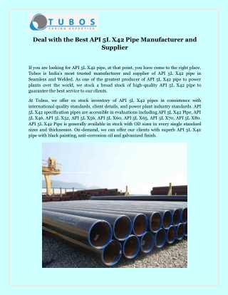 Deal with the Best API 5L X42 Pipe Manufacturer and Supplier