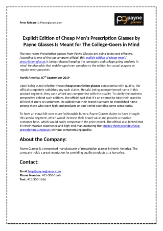 Explicit Edition of Cheap Men's Prescription Glasses by Payne Glasses Is Meant for The College-Goers in Mind
