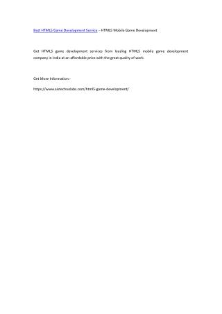 Best HTML5 Game Development Service – HTML5 Mobile Game Development