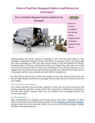 How to Find the Cheapest Packers and Movers in Jayanagar?