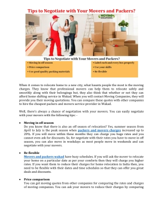 Tips to Negotiate with Your Movers and Packers?