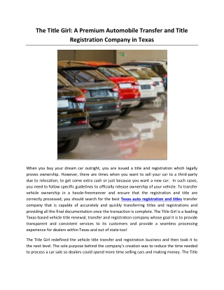The Title Girl: A Premium Automobile Transfer and Title Registration Company in Texas