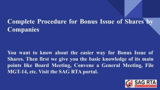 Step by step procedure for Bonus Issue of Shares by Companies
