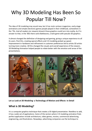 Why 3D Modeling Has Been So Popular Till Now?