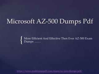 Microsoft AZURE AZ-500 Dumps Pdf - Official And Real