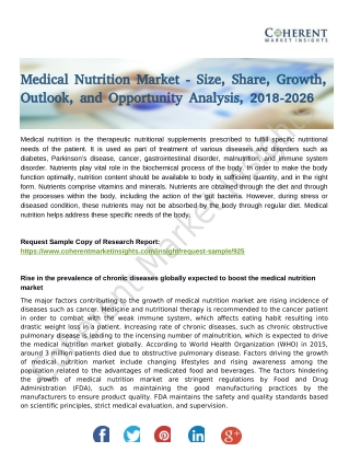 Medical Nutrition Market to See Incredible Growth By 2026