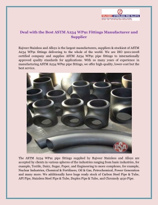 Deal with the Best ASTM A234 WP91 Fittings Manufacturer and Supplier