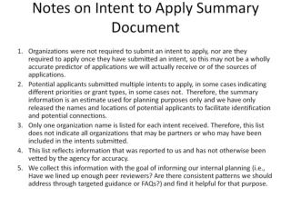 Notes on Intent to Apply Summary Document