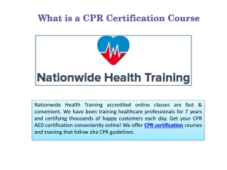 What is a CPR Certification Course