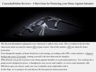 ConcealedOnline Reviews - 4 Best Guns for Protecting your Home Against Intruders
