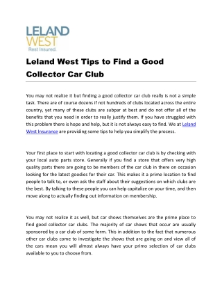 Leland West Tips to Find a Good Collector Car Club
