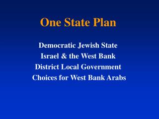 One State Plan