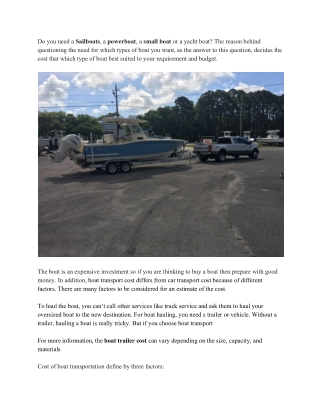 Keep Updated With Boat Transportation Cost