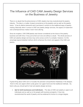 The Influence of CAD Cam Jewellery Design Services on the Business of Jewellery