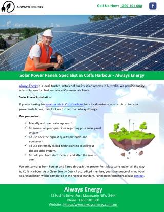 Solar Power Panels Specialist in Coffs Harbour - Always Energy