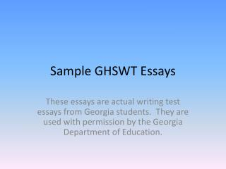 Sample GHSWT Essays