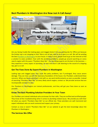 Best Plumbers In Washington Are Now Just A Call Away!