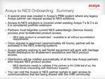 Avaya to NES Onboarding:  Summary