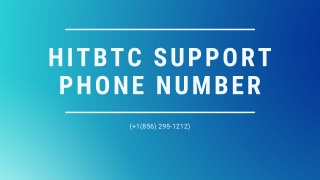 Hitbtc Support 1【(856) 295-1212】Phone Number