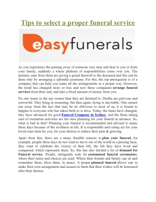 Tips to select a proper funeral service