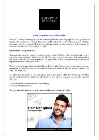 Is hair transplant successful in India?