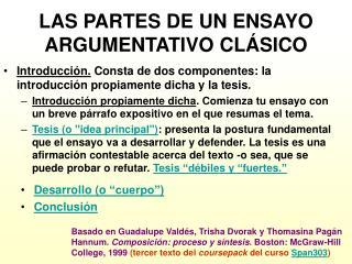 LAS PARTES DE UN ENSAYO ARGUMENTATIVO CLÁSICO