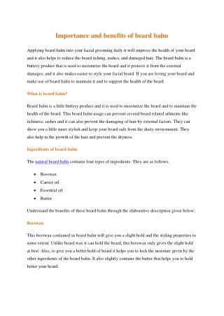 Importance and benefits of beard balm