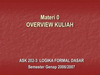Materi 0 OVERVIEW KULIAH