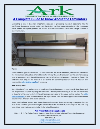 A Complete Guide to Know About the Laminators