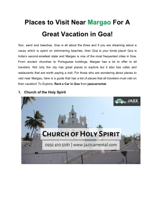 Places to Visit Near Margao For A Great Vacation in Goa!