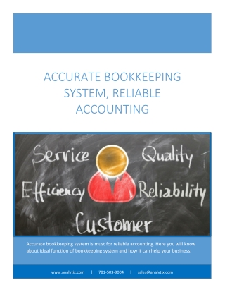 Accurate Bookkeeping System, Reliable Accounting