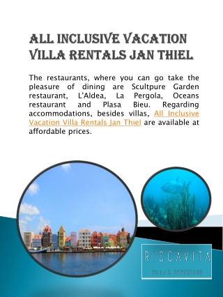 All Inclusive Vacation Villa Rentals Jan Thiel