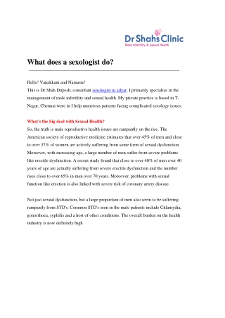 What does a sexologist do