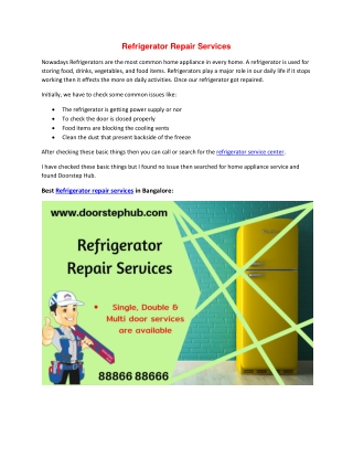 Best Refrigerator Service Center