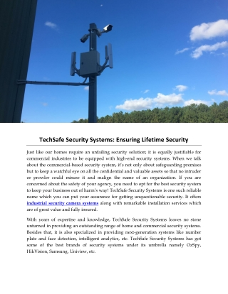 TechSafe Security Systems: Ensuring Lifetime Security