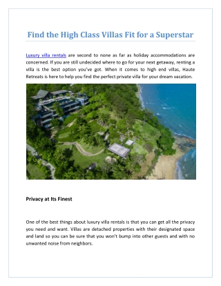 Find the High Class Villas Fit for a Superstar